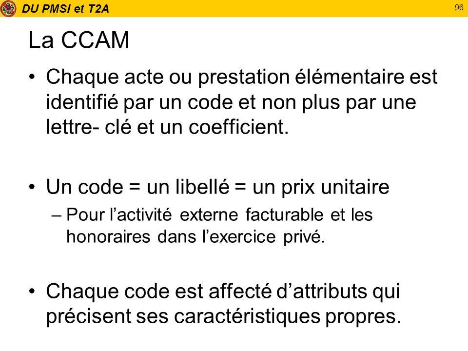 DU PMSI et T2A 96 La CCAM Chaque acte ou prestation élémentaire est identifié par un code et non plus par une lettre- clé et un coefficient. Un code =
