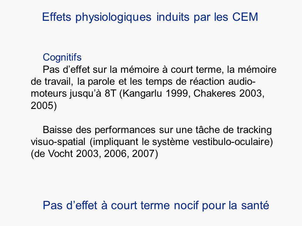Cognitifs Pas deffet sur la mémoire à court terme, la mémoire de travail, la parole et les temps de réaction audio- moteurs jusquà 8T (Kangarlu 1999,