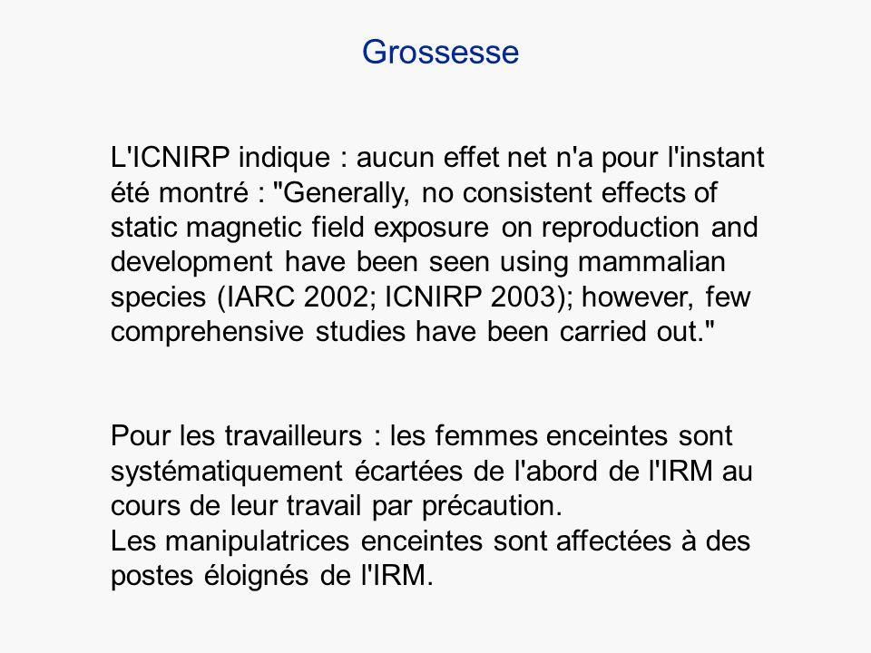 L'ICNIRP indique : aucun effet net n'a pour l'instant été montré :