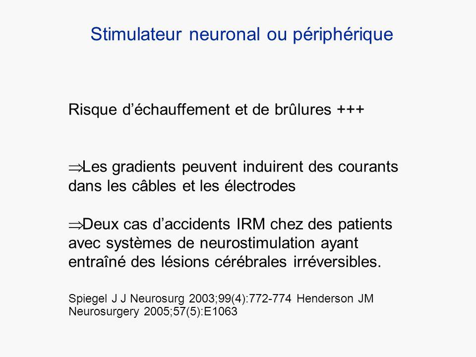 Risque déchauffement et de brûlures +++ Les gradients peuvent induirent des courants dans les câbles et les électrodes Deux cas daccidents IRM chez de