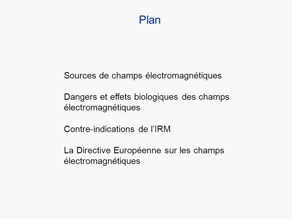 Sources de champs électromagnétiques Dangers et effets biologiques des champs électromagnétiques Contre-indications de lIRM La Directive Européenne su