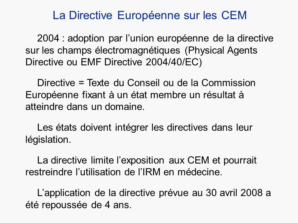 2004 : adoption par lunion européenne de la directive sur les champs électromagnétiques (Physical Agents Directive ou EMF Directive 2004/40/EC) Direct