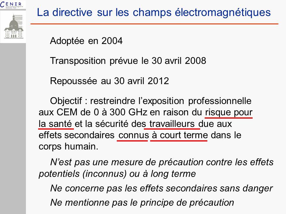 Adoptée en 2004 Transposition prévue le 30 avril 2008 Repoussée au 30 avril 2012 Objectif : restreindre lexposition professionnelle aux CEM de 0 à 300