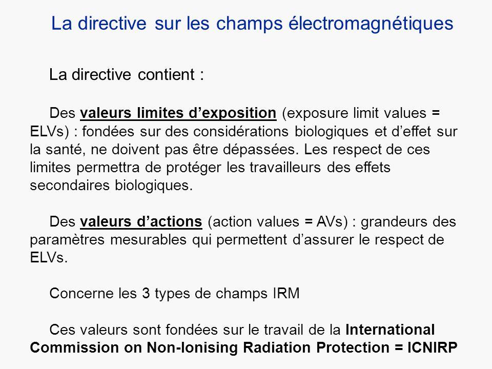 La directive contient : Des valeurs limites dexposition (exposure limit values = ELVs) : fondées sur des considérations biologiques et deffet sur la s