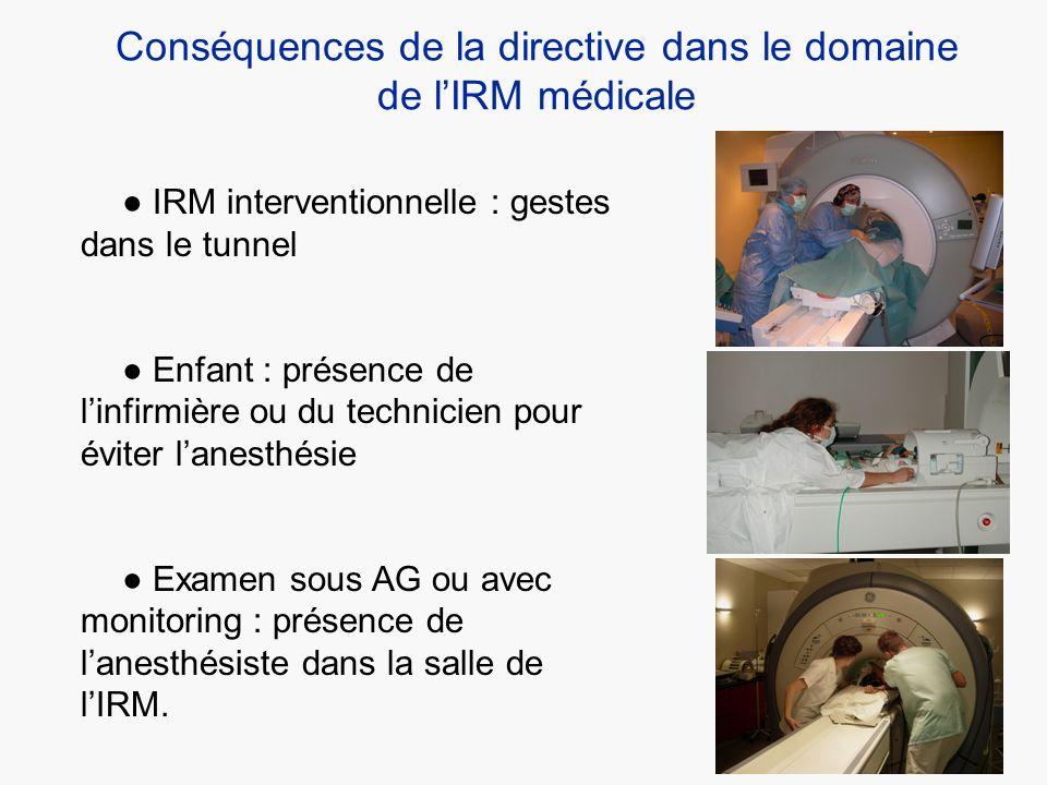 Conséquences de la directive dans le domaine de lIRM médicale IRM interventionnelle : gestes dans le tunnel Enfant : présence de linfirmière ou du tec