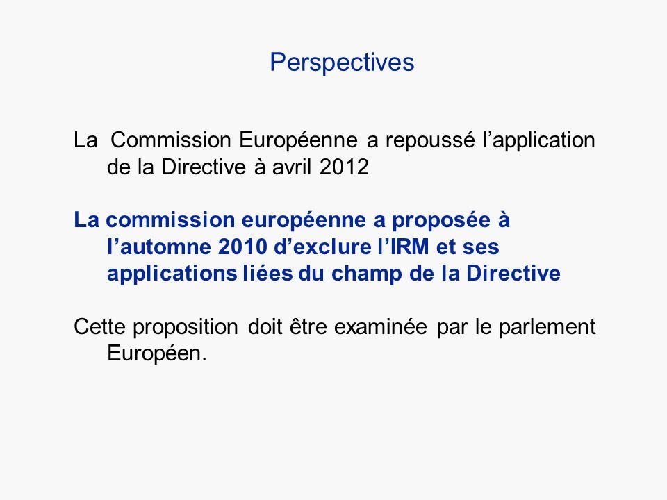 Perspectives La Commission Européenne a repoussé lapplication de la Directive à avril 2012 La commission européenne a proposée à lautomne 2010 dexclur