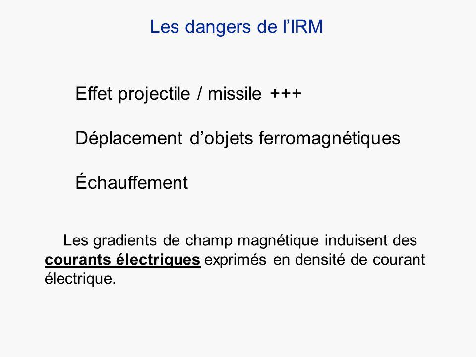 Les dangers de lIRM Effet projectile / missile +++ Déplacement dobjets ferromagnétiques Échauffement Les gradients de champ magnétique induisent des c
