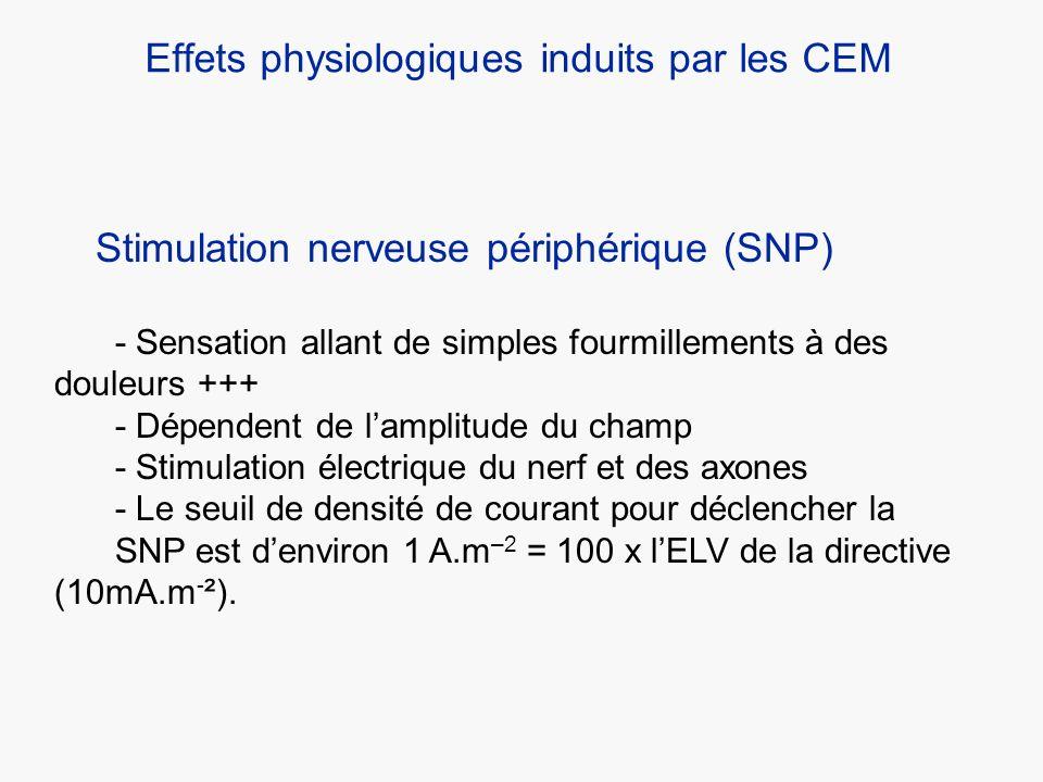 Effets physiologiques induits par les CEM Stimulation nerveuse périphérique (SNP) - Sensation allant de simples fourmillements à des douleurs +++ - Dé