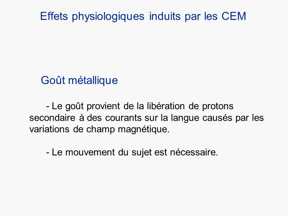 Effets physiologiques induits par les CEM Goût métallique - Le goût provient de la libération de protons secondaire à des courants sur la langue causé