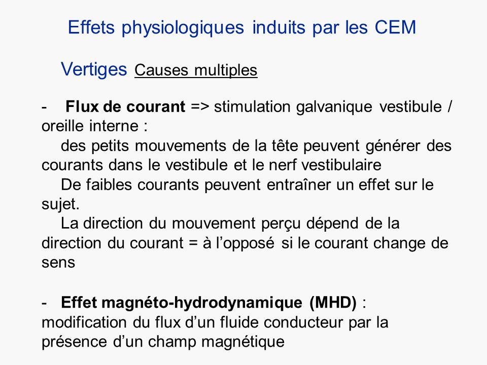 Vertiges Causes multiples - Flux de courant => stimulation galvanique vestibule / oreille interne : des petits mouvements de la tête peuvent générer d