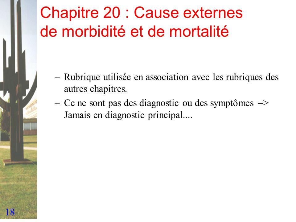 18 Chapitre 20 : Cause externes de morbidité et de mortalité –Rubrique utilisée en association avec les rubriques des autres chapitres. –Ce ne sont pa