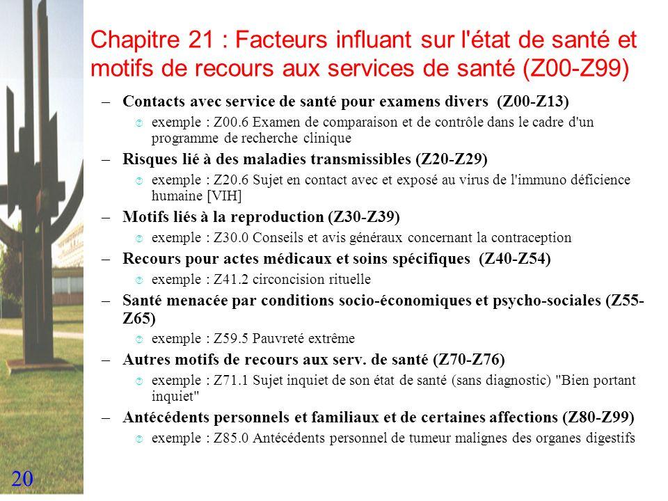 20 Chapitre 21 : Facteurs influant sur l'état de santé et motifs de recours aux services de santé (Z00-Z99) –Contacts avec service de santé pour exame