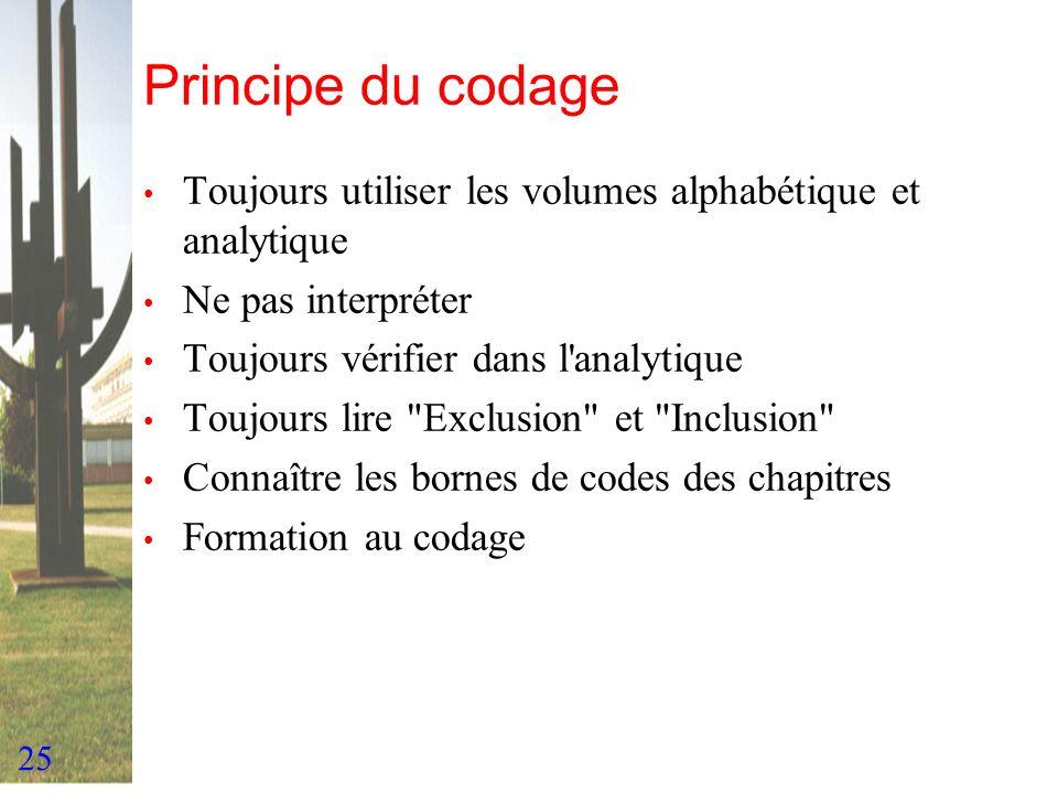 25 Principe du codage Toujours utiliser les volumes alphabétique et analytique Ne pas interpréter Toujours vérifier dans l'analytique Toujours lire