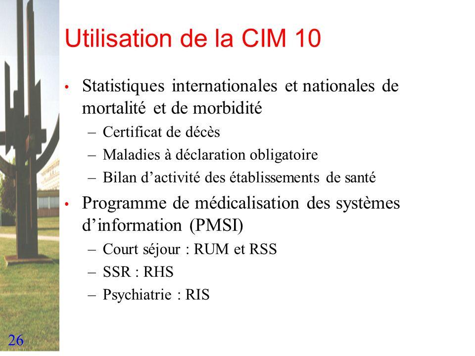 26 Utilisation de la CIM 10 Statistiques internationales et nationales de mortalité et de morbidité –Certificat de décès –Maladies à déclaration oblig