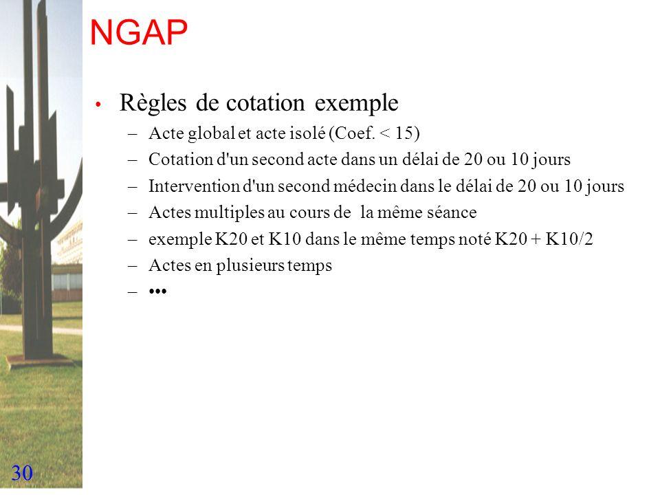 30 NGAP Règles de cotation exemple –Acte global et acte isolé (Coef. < 15) –Cotation d'un second acte dans un délai de 20 ou 10 jours –Intervention d'