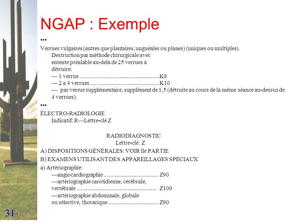 31 NGAP : Exemple Verrues vulgaires (autres que plantaires, unguéales ou planes) (uniques ou multiples). Destruction par méthode chirurgicale avec ent