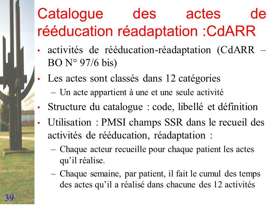 39 Catalogue des actes de rééducation réadaptation :CdARR activités de rééducation-réadaptation (CdARR – BO N° 97/6 bis) Les actes sont classés dans 1