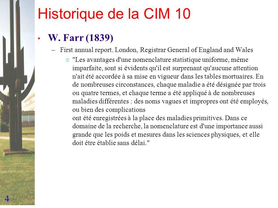 4 Historique de la CIM 10 W. Farr (1839) –First annual report. London, Registrar General of England and Wales ‡