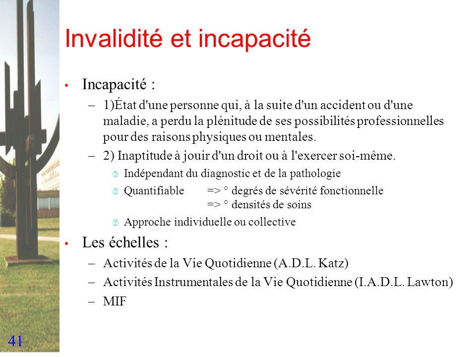 41 Invalidité et incapacité Incapacité : –1)État d'une personne qui, à la suite d'un accident ou d'une maladie, a perdu la plénitude de ses possibilit