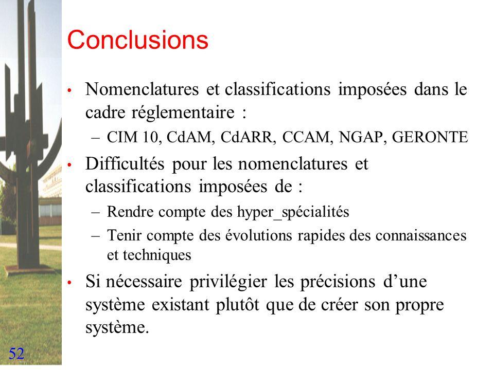 52 Conclusions Nomenclatures et classifications imposées dans le cadre réglementaire : –CIM 10, CdAM, CdARR, CCAM, NGAP, GERONTE Difficultés pour les