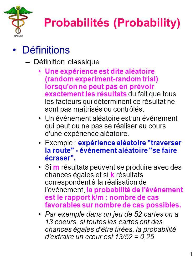 1 Probabilités (Probability) Définitions –Définition classique Une expérience est dite aléatoire (random experiment-random trial) lorsqu'on ne peut pa