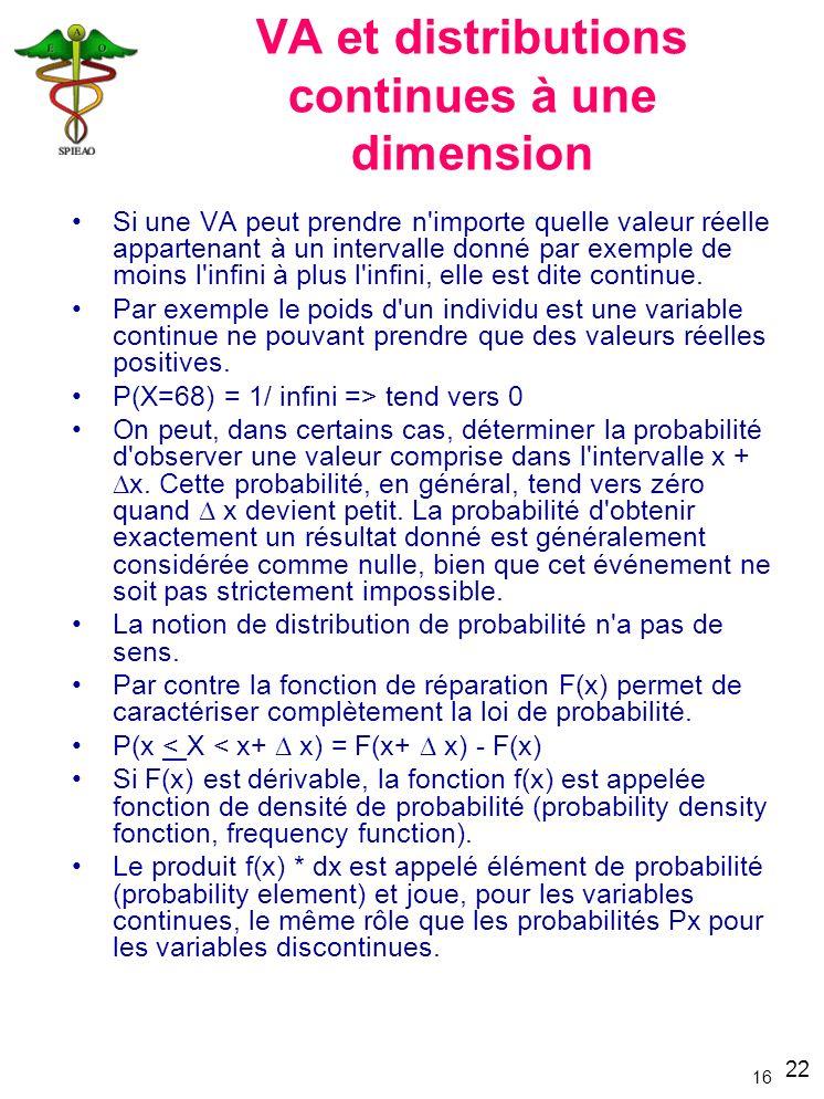 22 16 VA et distributions continues à une dimension Si une VA peut prendre n'importe quelle valeur réelle appartenant à un intervalle donné par exempl