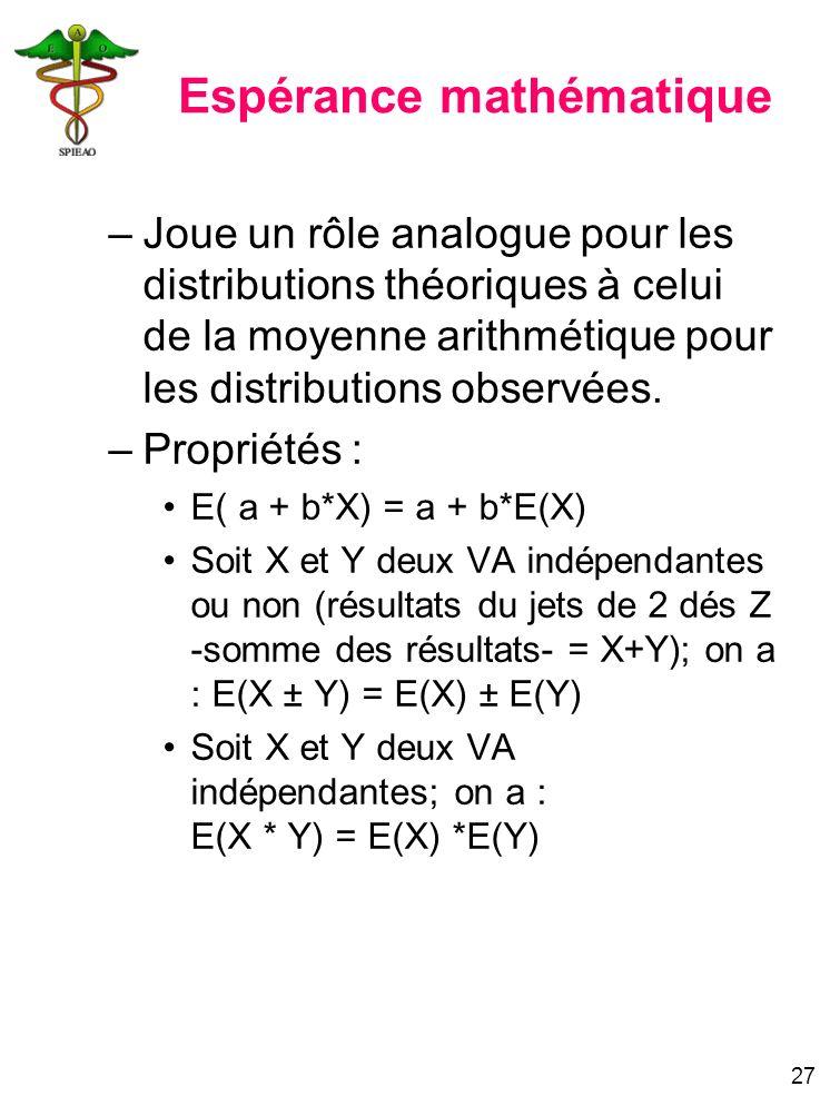 27 Espérance mathématique –Joue un rôle analogue pour les distributions théoriques à celui de la moyenne arithmétique pour les distributions observées