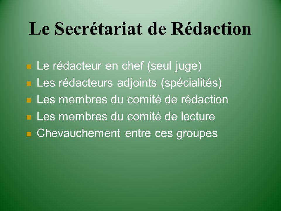 Le Secrétariat de Rédaction Le rédacteur en chef (seul juge) Les rédacteurs adjoints (spécialités) Les membres du comité de rédaction Les membres du c