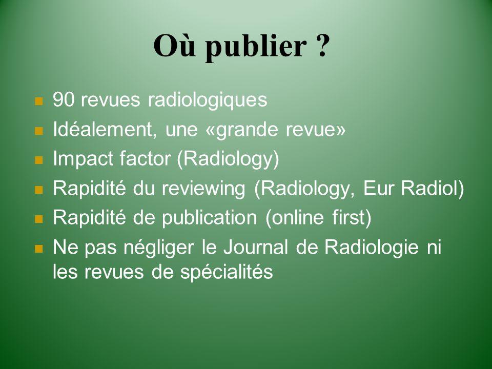 90 revues radiologiques Idéalement, une «grande revue» Impact factor (Radiology) Rapidité du reviewing (Radiology, Eur Radiol) Rapidité de publication