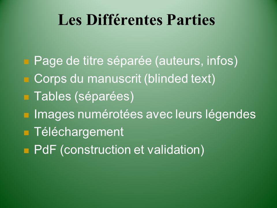 Les Différentes Parties Page de titre séparée (auteurs, infos) Corps du manuscrit (blinded text) Tables (séparées) Images numérotées avec leurs légend