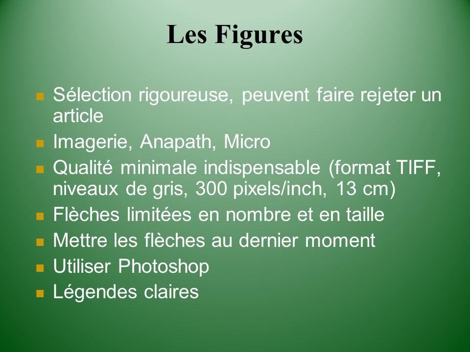 Les Figures Sélection rigoureuse, peuvent faire rejeter un article Imagerie, Anapath, Micro Qualité minimale indispensable (format TIFF, niveaux de gr