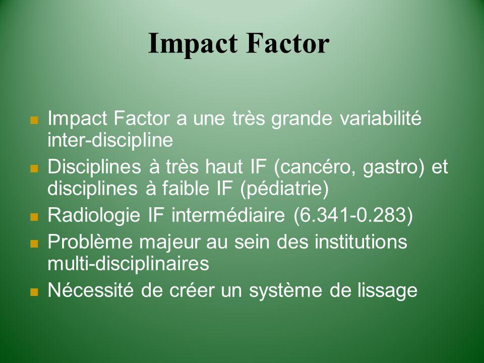 Impact Factor a une très grande variabilité inter-discipline Disciplines à très haut IF (cancéro, gastro) et disciplines à faible IF (pédiatrie) Radio