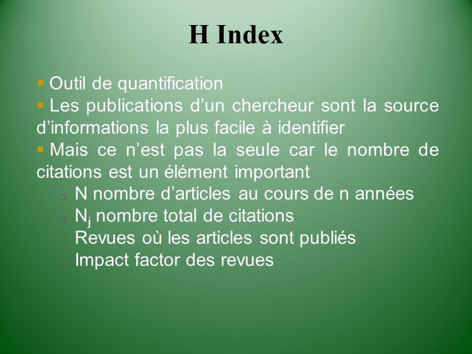H Index Outil de quantification Les publications dun chercheur sont la source dinformations la plus facile à identifier Mais ce nest pas la seule car