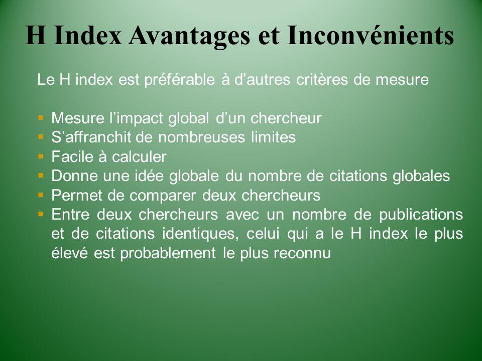 Le H index est préférable à dautres critères de mesure Mesure limpact global dun chercheur Saffranchit de nombreuses limites Facile à calculer Donne u