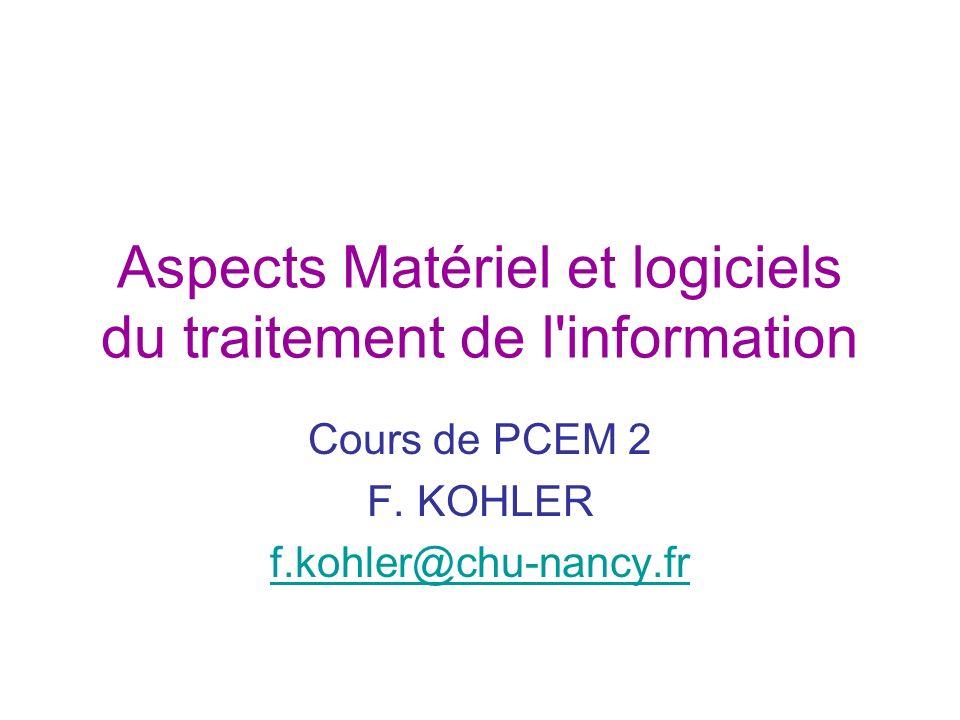 Aspects Matériel et logiciels du traitement de l'information Cours de PCEM 2 F. KOHLER f.kohler@chu-nancy.fr