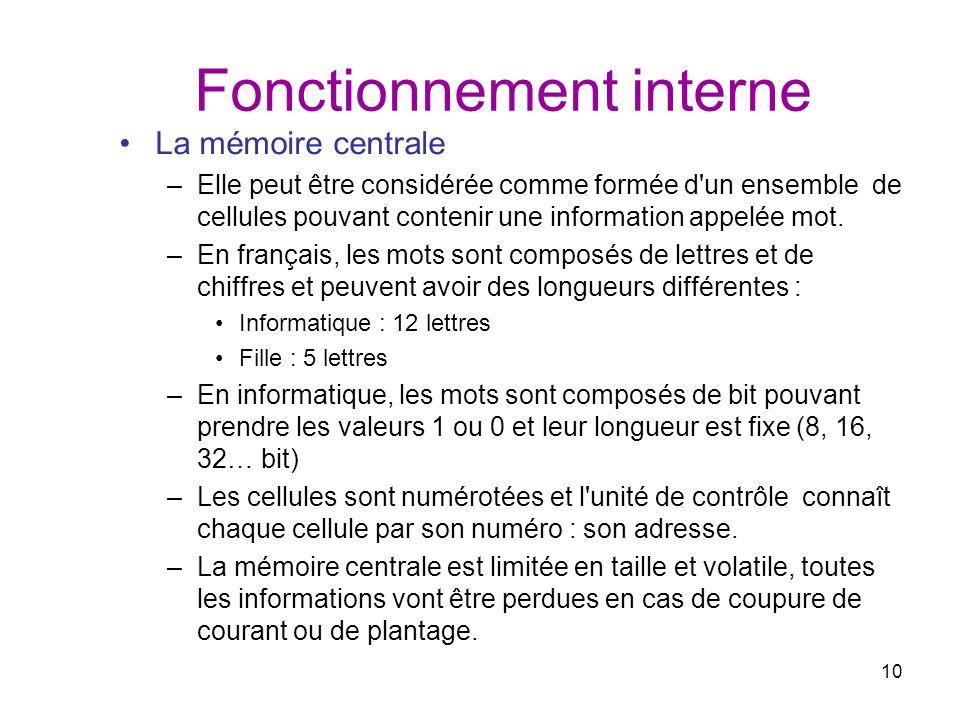 10 Fonctionnement interne La mémoire centrale –Elle peut être considérée comme formée d'un ensemble de cellules pouvant contenir une information appel