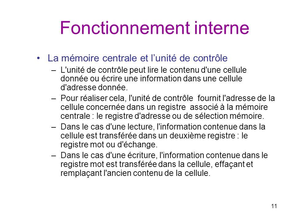 11 Fonctionnement interne La mémoire centrale et lunité de contrôle –L'unité de contrôle peut lire le contenu d'une cellule donnée ou écrire une infor