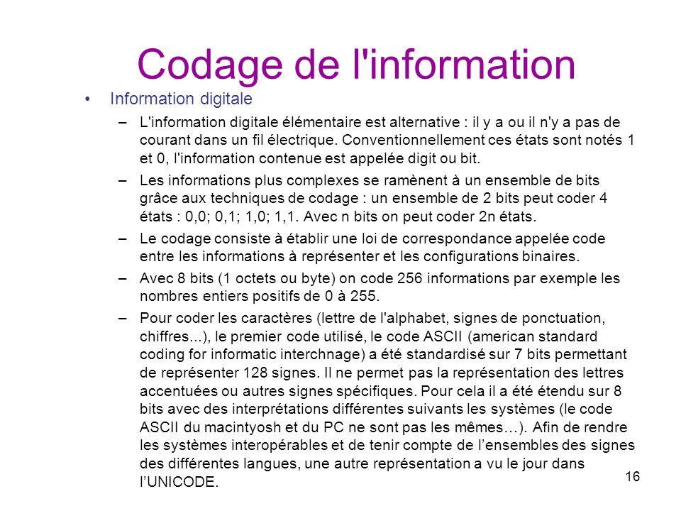 16 Codage de l'information Information digitale –L'information digitale élémentaire est alternative : il y a ou il n'y a pas de courant dans un fil él