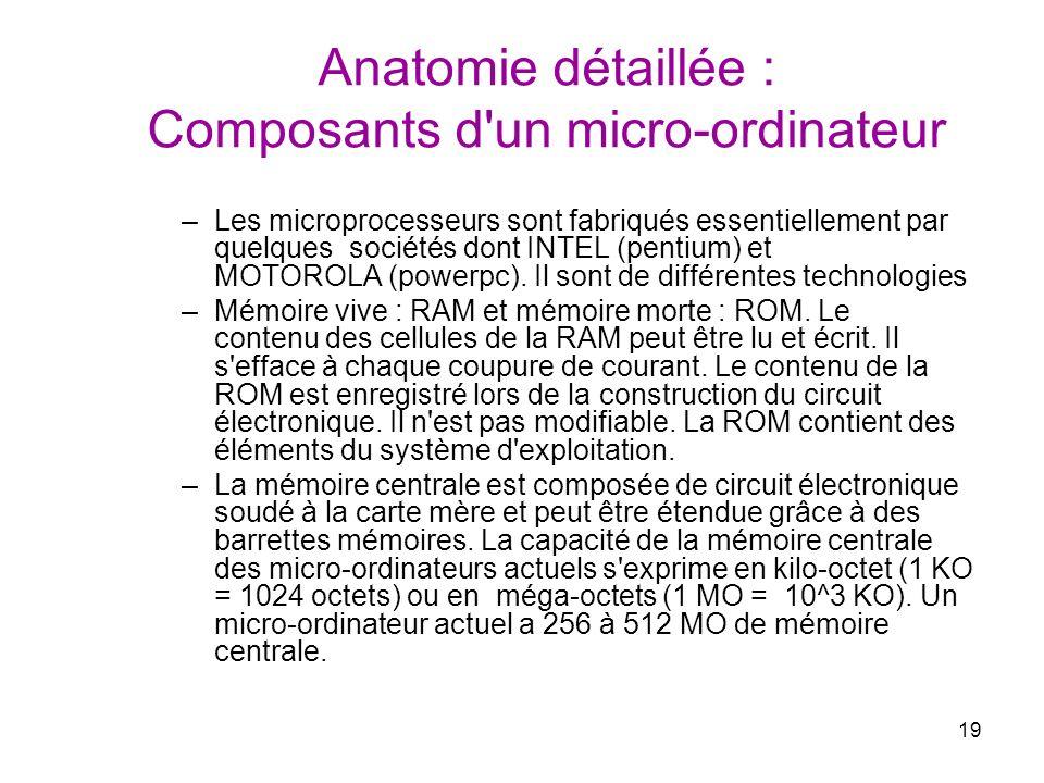 19 Anatomie détaillée : Composants d'un micro-ordinateur –Les microprocesseurs sont fabriqués essentiellement par quelques sociétés dont INTEL (pentiu