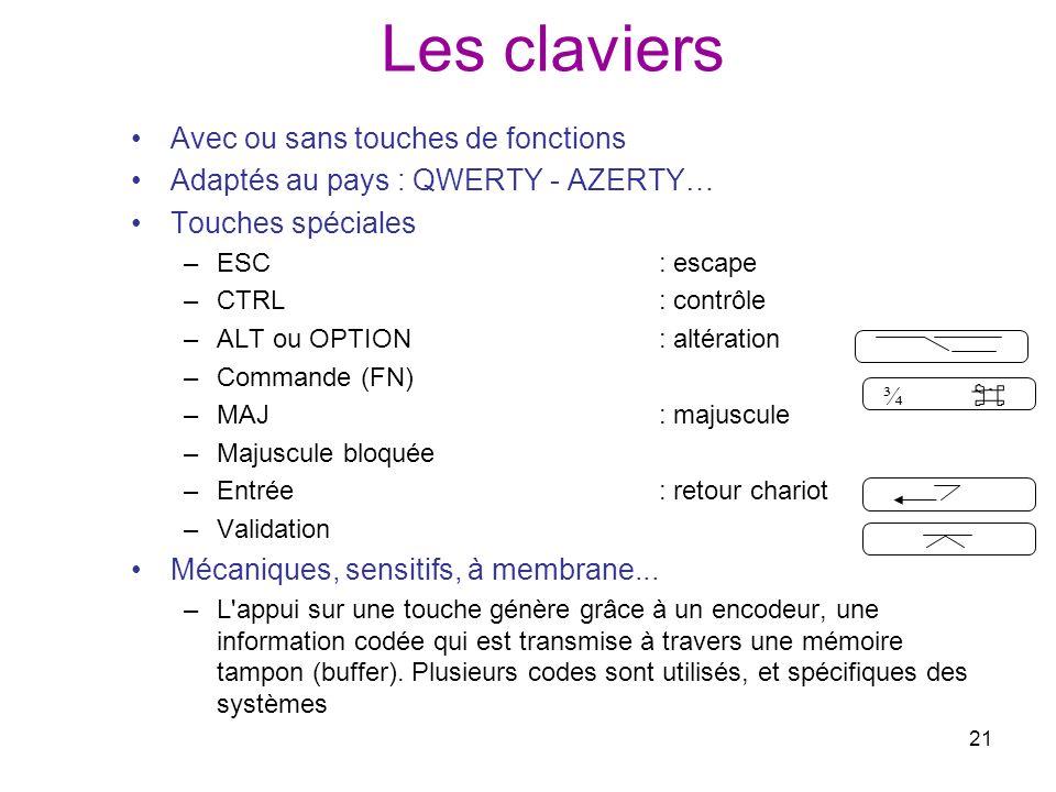 21 Les claviers Avec ou sans touches de fonctions Adaptés au pays : QWERTY - AZERTY… Touches spéciales –ESC: escape –CTRL: contrôle –ALT ou OPTION: al