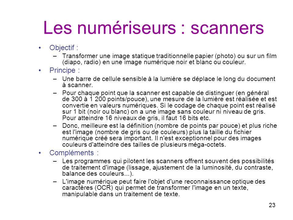 23 Les numériseurs : scanners Objectif : –Transformer une image statique traditionnelle papier (photo) ou sur un film (diapo, radio) en une image numé