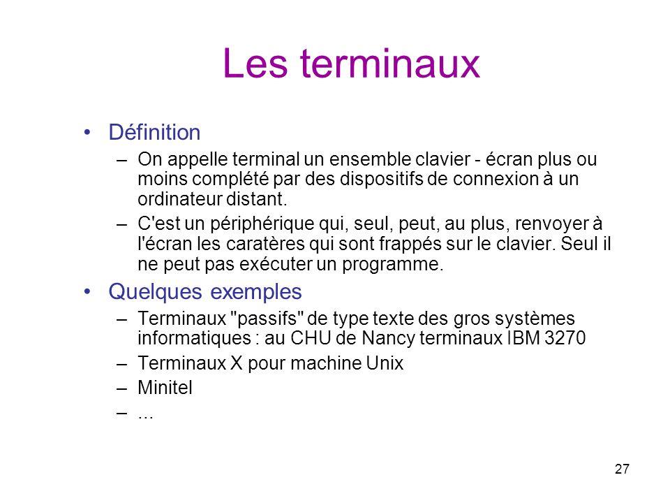 27 Les terminaux Définition –On appelle terminal un ensemble clavier - écran plus ou moins complété par des dispositifs de connexion à un ordinateur d