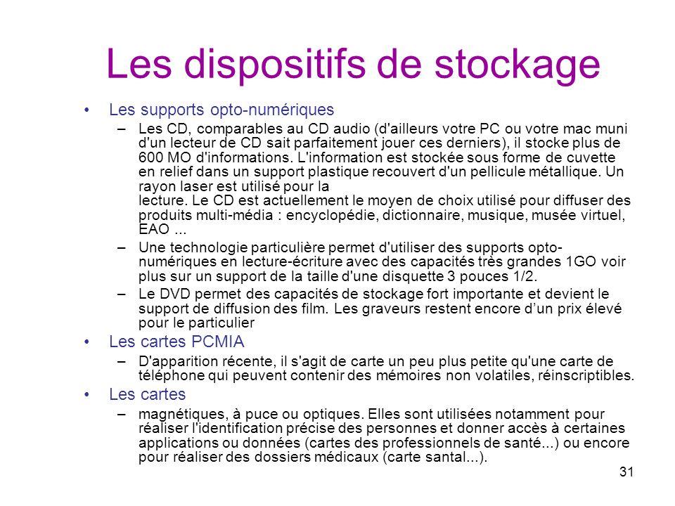31 Les dispositifs de stockage Les supports opto-numériques –Les CD, comparables au CD audio (d'ailleurs votre PC ou votre mac muni d'un lecteur de CD