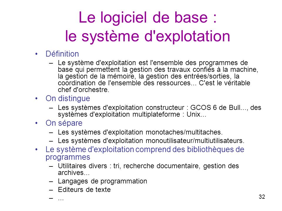 32 Le logiciel de base : le système d'explotation Définition –Le système d'exploitation est l'ensemble des programmes de base qui permettent la gestio