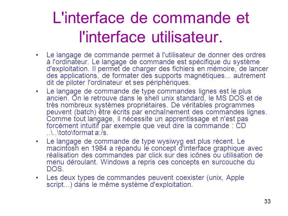 33 L'interface de commande et l'interface utilisateur. Le langage de commande permet à l'utilisateur de donner des ordres à l'ordinateur. Le langage d