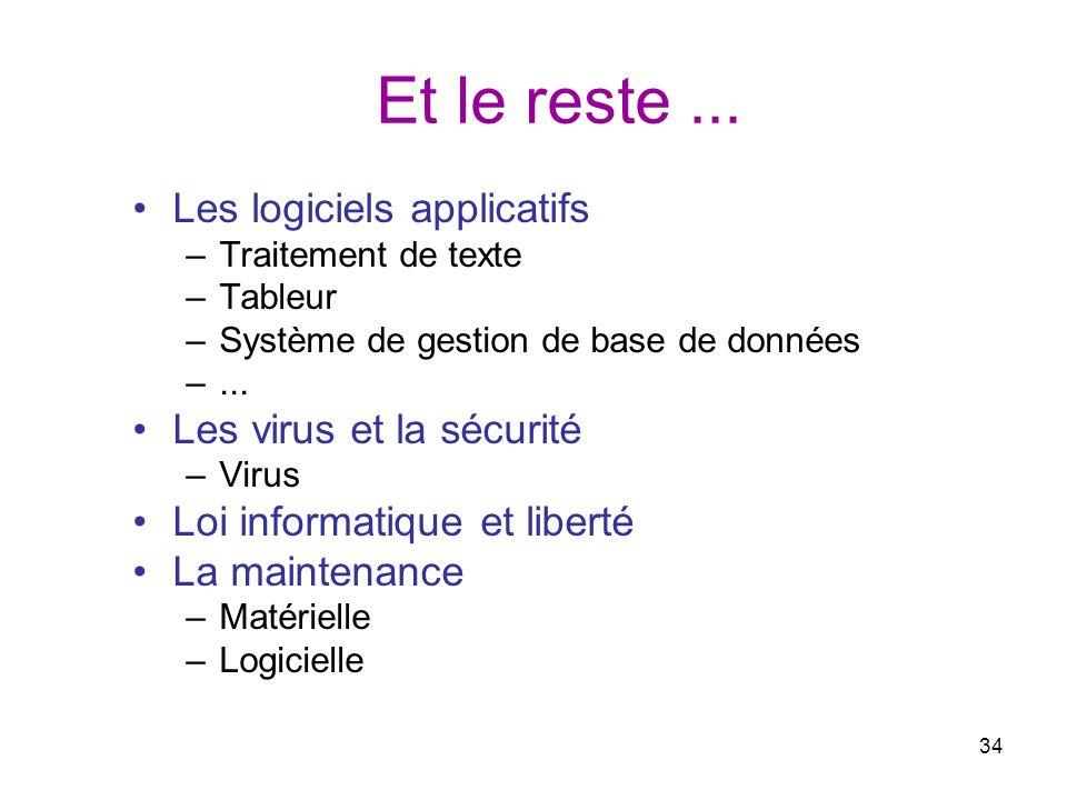 34 Et le reste... Les logiciels applicatifs –Traitement de texte –Tableur –Système de gestion de base de données –... Les virus et la sécurité –Virus