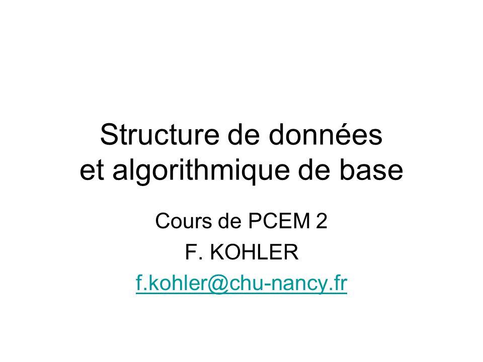 Structure de données et algorithmique de base Cours de PCEM 2 F. KOHLER f.kohler@chu-nancy.fr