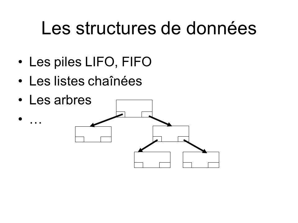 Les structures de données Les piles LIFO, FIFO Les listes chaînées Les arbres …
