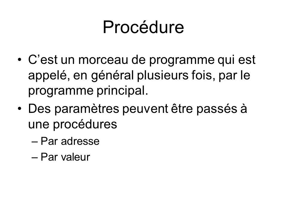 Procédure Cest un morceau de programme qui est appelé, en général plusieurs fois, par le programme principal. Des paramètres peuvent être passés à une