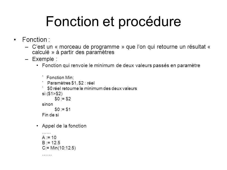 Fonction et procédure Fonction : –Cest un « morceau de programme » que lon qui retourne un résultat « calculé » à partir des paramètres –Exemple : Fon